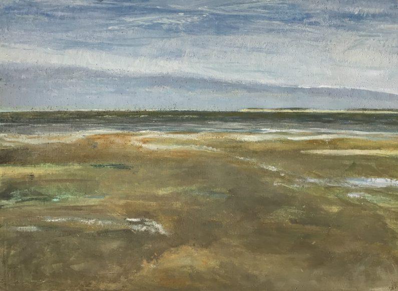 'Zicht op de Waddenzee – Eb', Texel 2017 – olieverf/paneel (24x33)