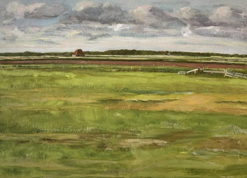'Zicht op de Kleiweg', Texel 2017 – olieverf/paneel (24x33)